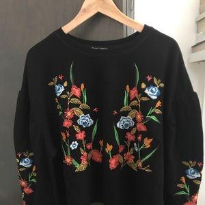 Zara embroidered floral sweatshirt